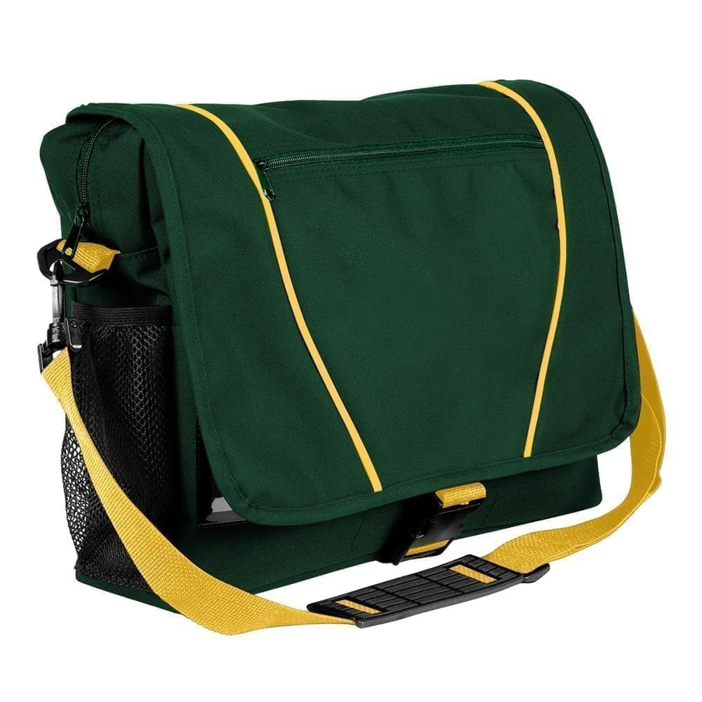 USA Made Nylon Poly Shoulder Bike Bags, Hunter Green-Gold, 9001197-AS5