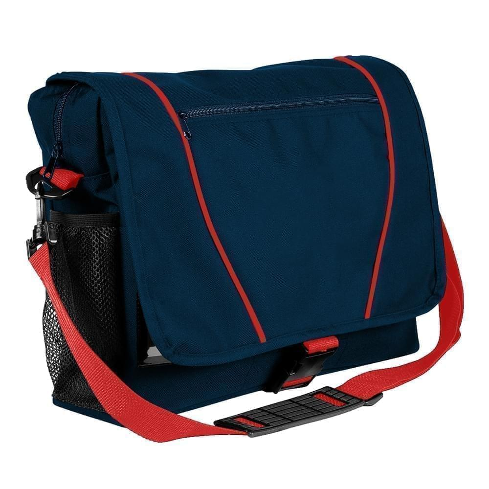 USA Made Nylon Poly Shoulder Bike Bags, Navy-Red, 9001197-AW2