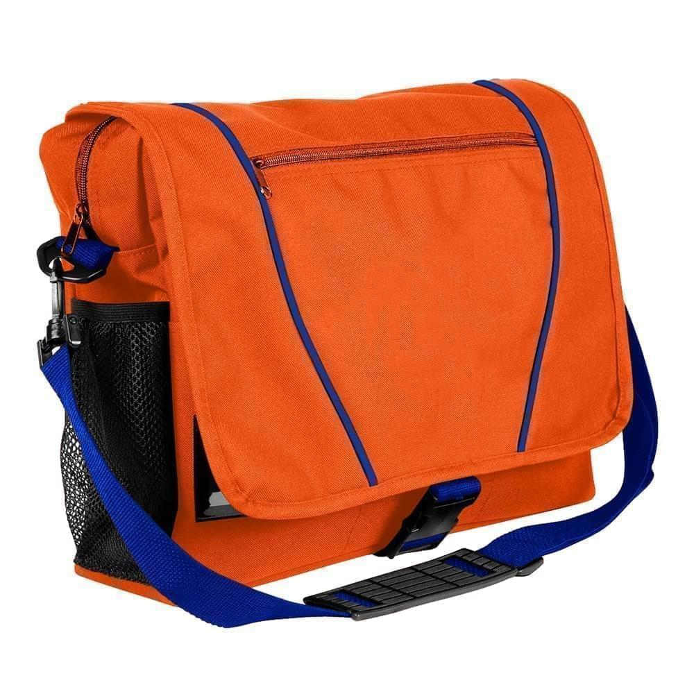 USA Made Nylon Poly Shoulder Bike Bags, Orange-Royal Blue, 9001197-AX3