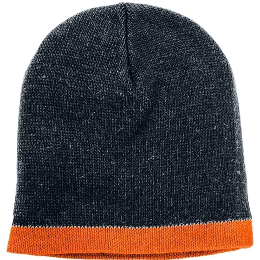 USA Made Knit Stripe Beanie Black Orange,  99B824-BLK-BOR