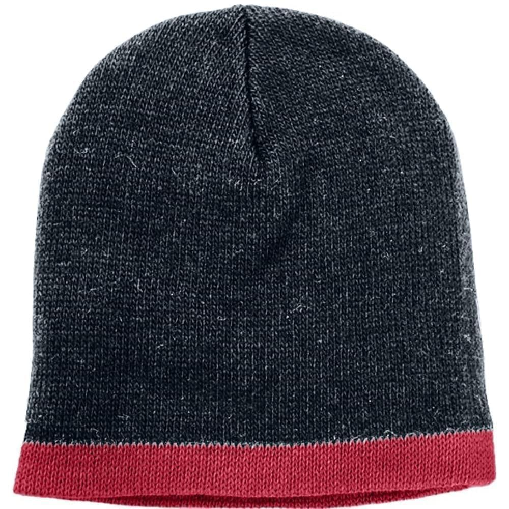 USA Made Knit Stripe Beanie Black Dark Red,  99B824-BLK-DRD