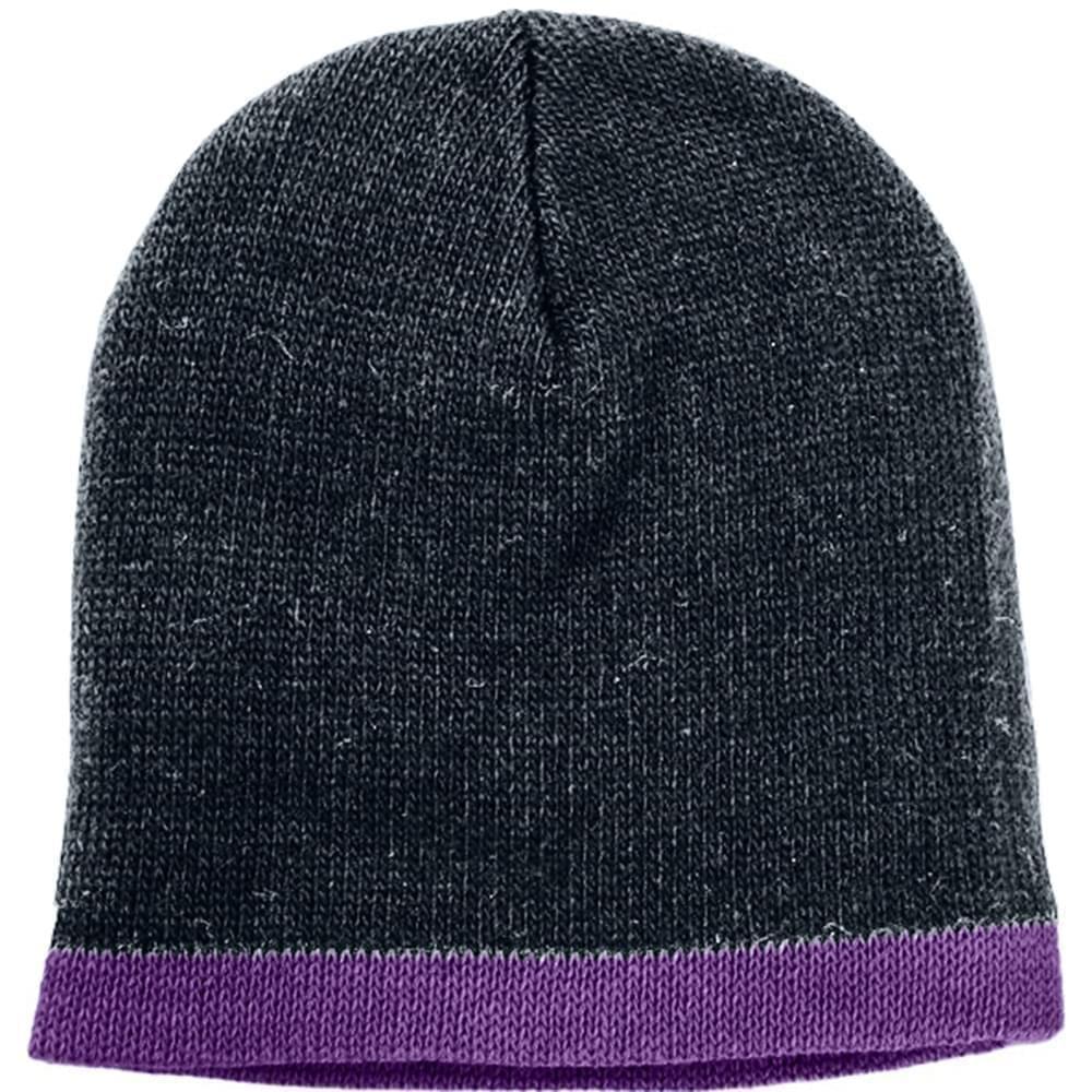 USA Made Knit Stripe Beanie Black Purple,  99B824-BLK-PRP