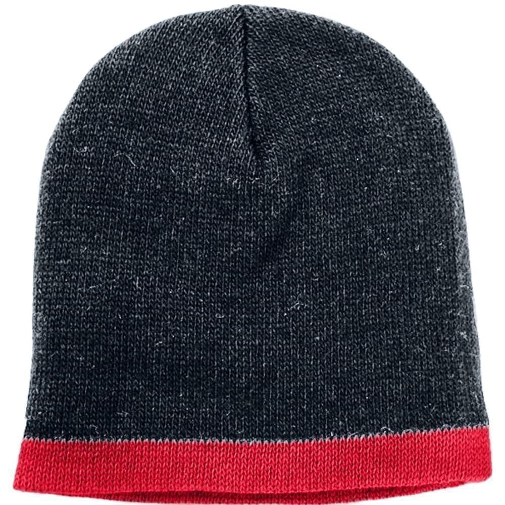 USA Made Knit Stripe Beanie Black Red,  99B824-BLK-RED