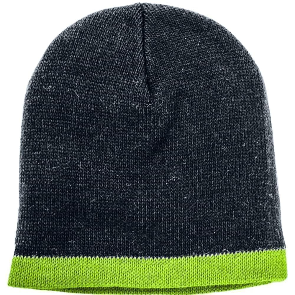 USA Made Knit Stripe Beanie Black Safety Green,  99B824-BLK-SGR