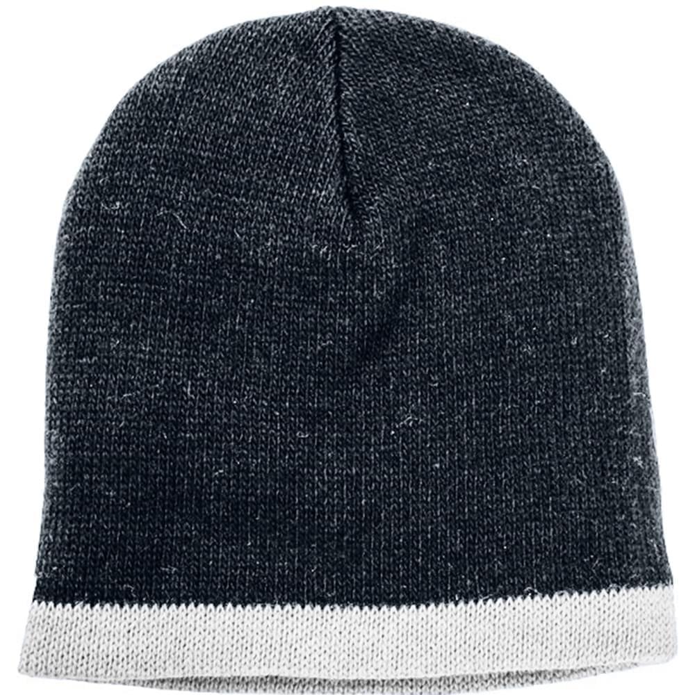 USA Made Knit Stripe Beanie Black White,  99B824-BLK-WHT