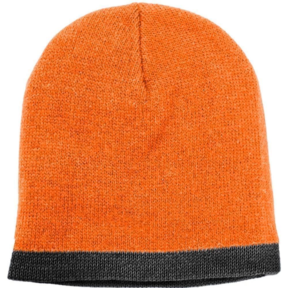 USA Made Knit Stripe Beanie Orange Black,  99B824-BOR-BLK