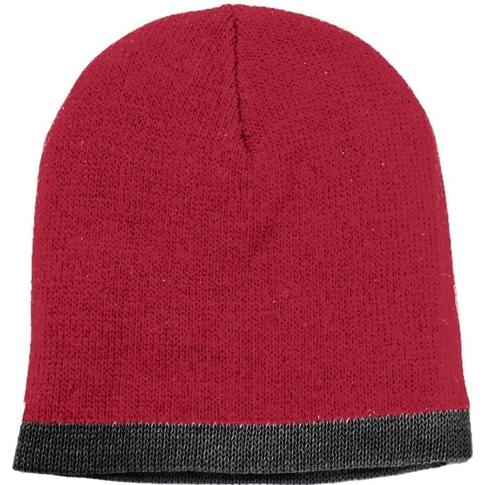 USA Made Knit Stripe Beanie Dark Red Black,  99B824-DRD-BLK