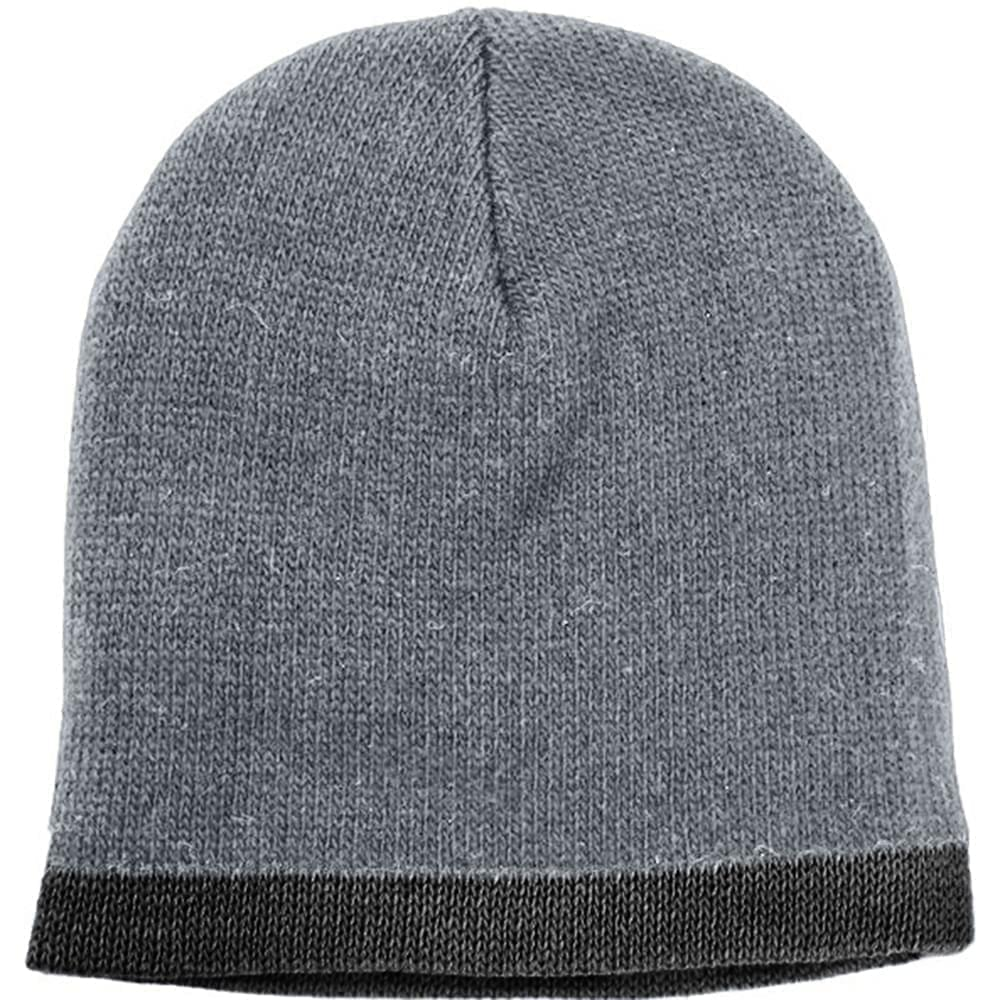USA Made Knit Stripe Beanie Grey Black,  99B824-GRY-BLK