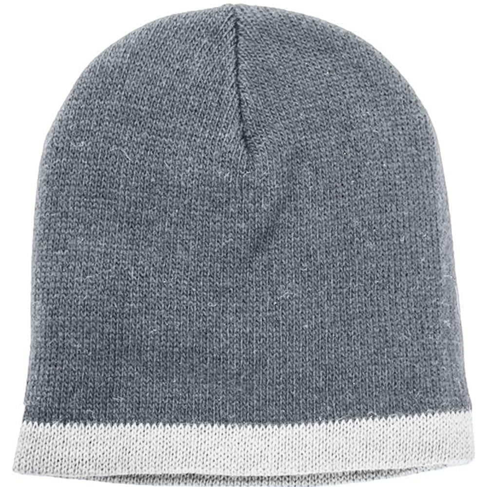USA Made Knit Stripe Beanie Grey White,  99B824-GRY-WHT