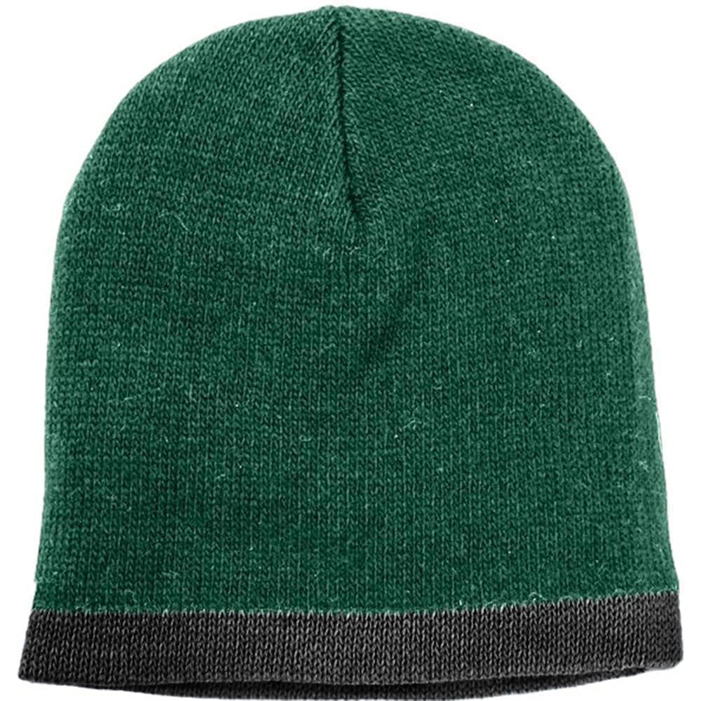 USA Made Knit Stripe Beanie Forest Green Black,  99B824-HGR-BLK