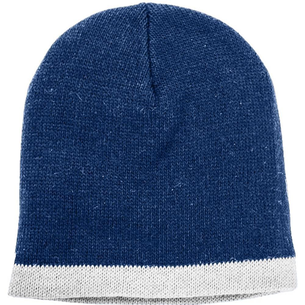 USA Made Knit Stripe Beanie Navy White,  99B824-NVY-WHT