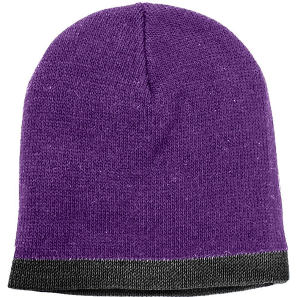 USA Made Knit Stripe Beanie Purple Black,  99B824-PRP-BLK