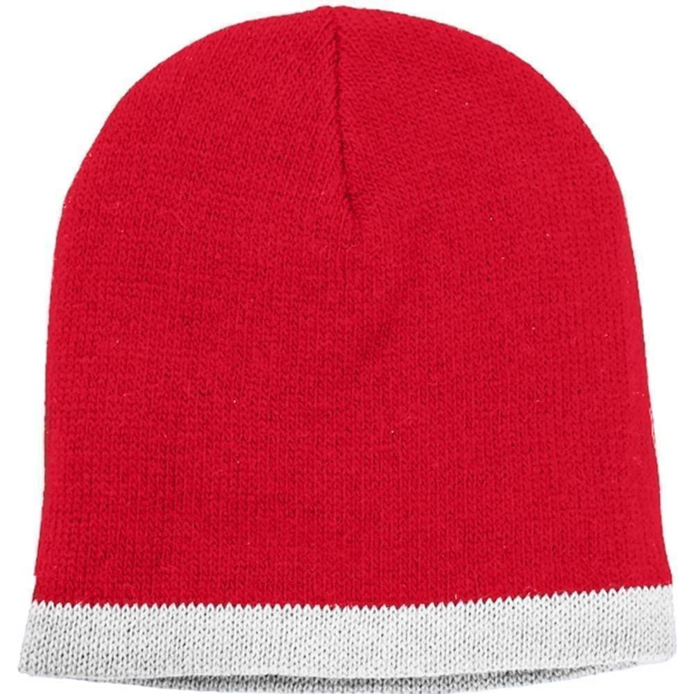 USA Made Knit Stripe Beanie Red White,  99B824-RED-WHT