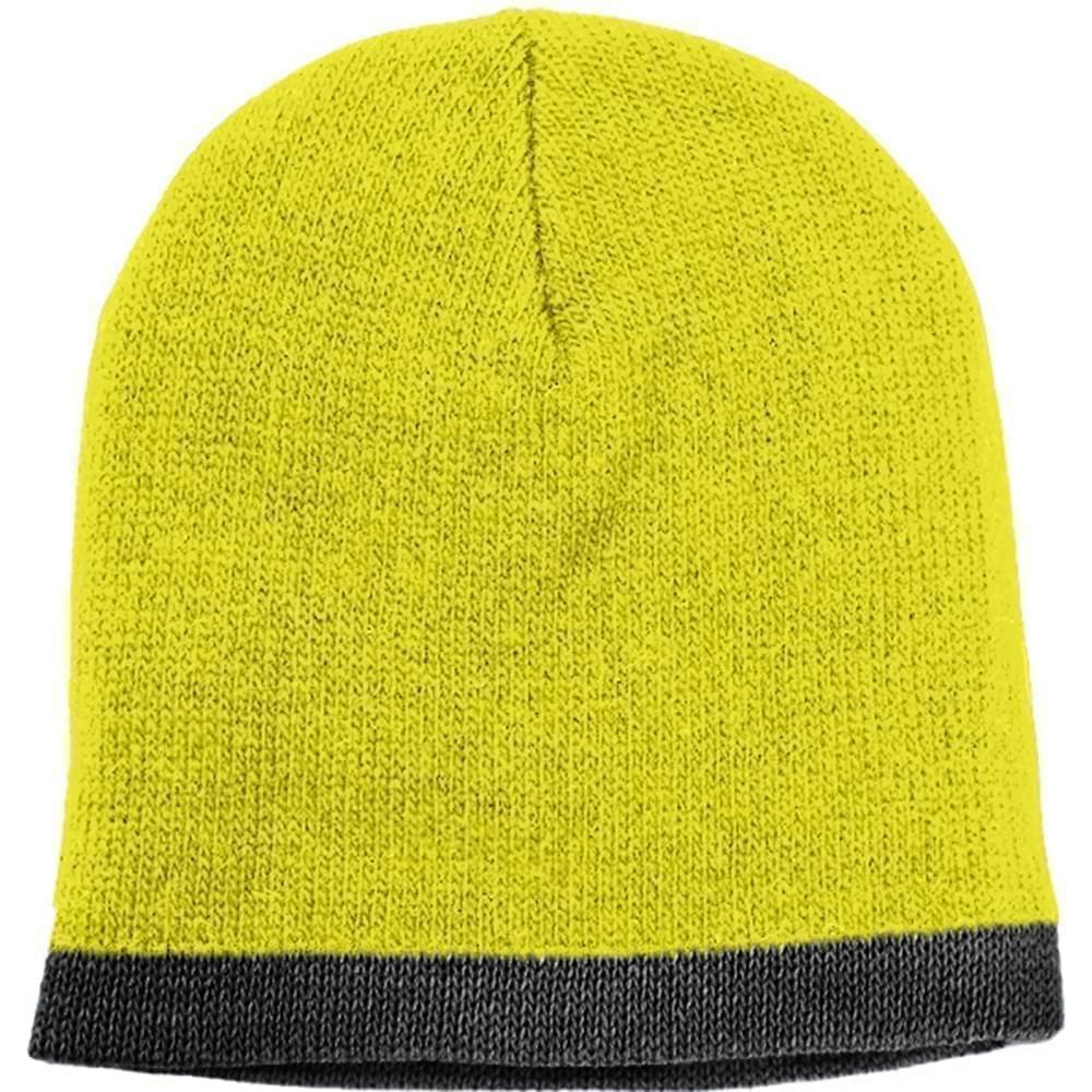 USA Made Knit Stripe Beanie Safety Yellow Black,  99B824-SYL-BLK