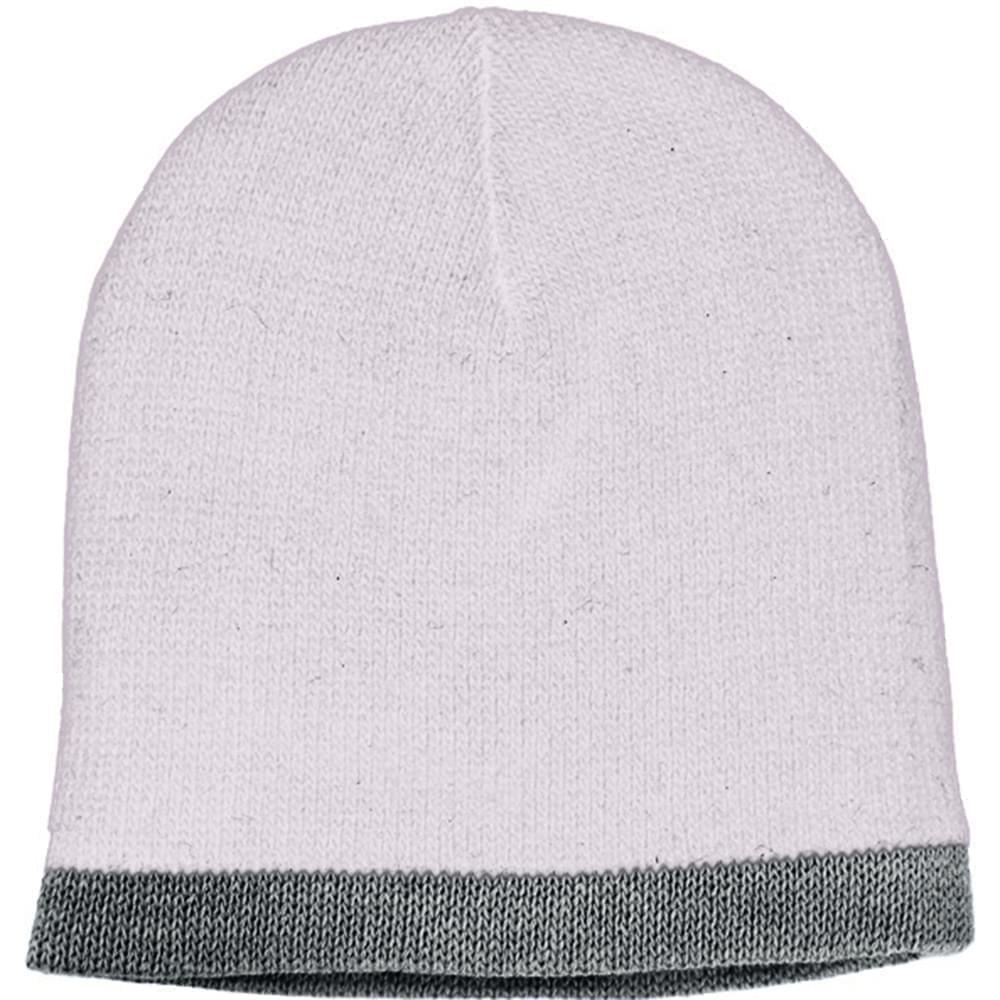 USA Made Knit Stripe Beanie White Grey,  99B824-WHT-GRY