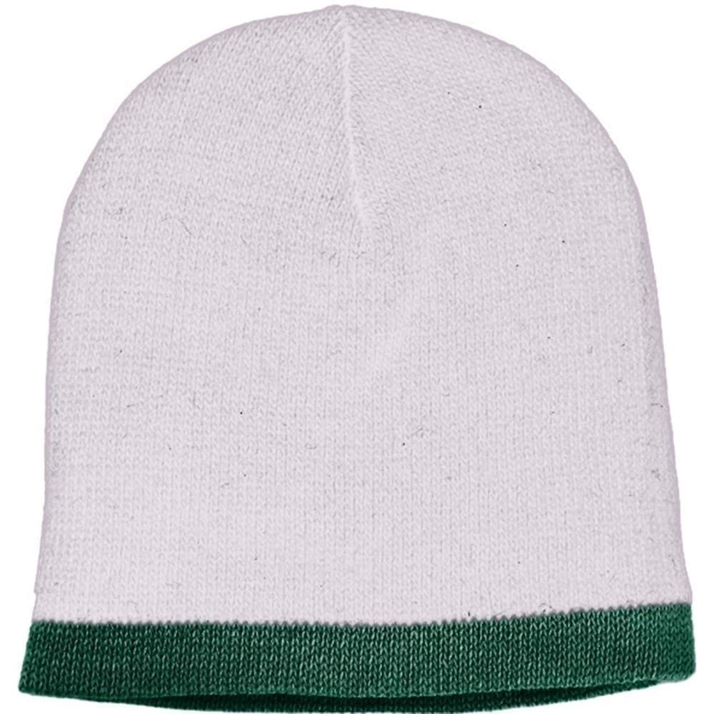 USA Made Knit Stripe Beanie White Forest Green,  99B824-WHT-HGR