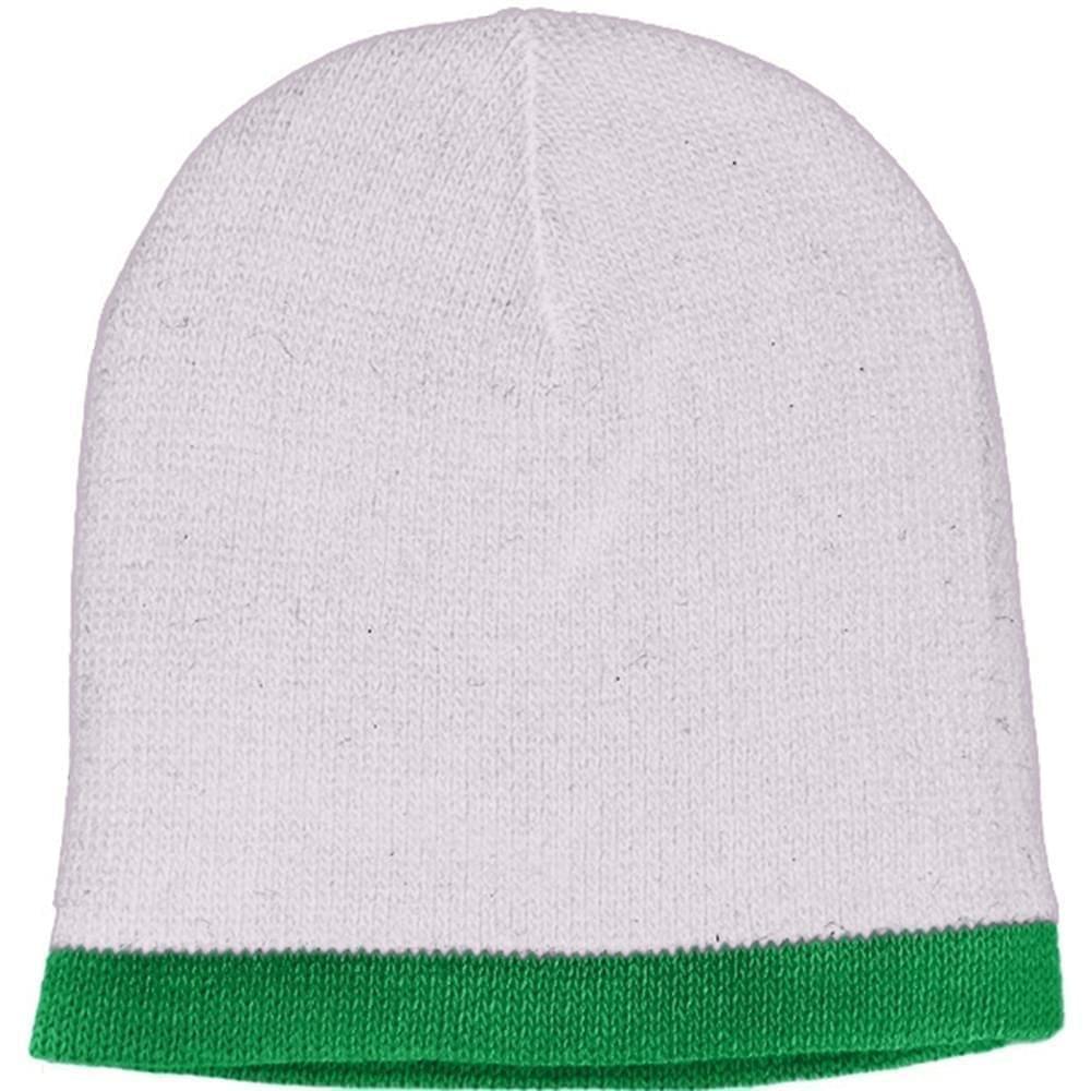 USA Made Knit Stripe Beanie White Kelly Green,  99B824-WHT-KGR