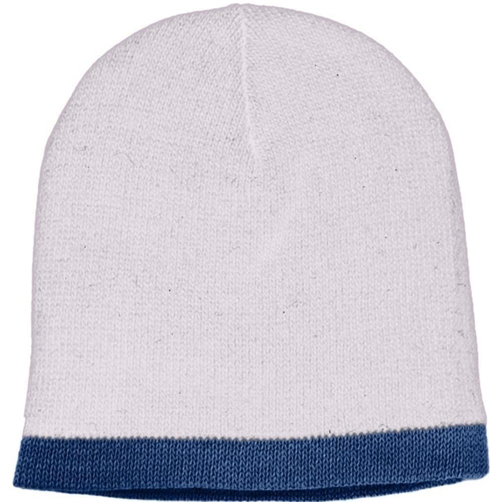 USA Made Knit Stripe Beanie White Navy,  99B824-WHT-NVY
