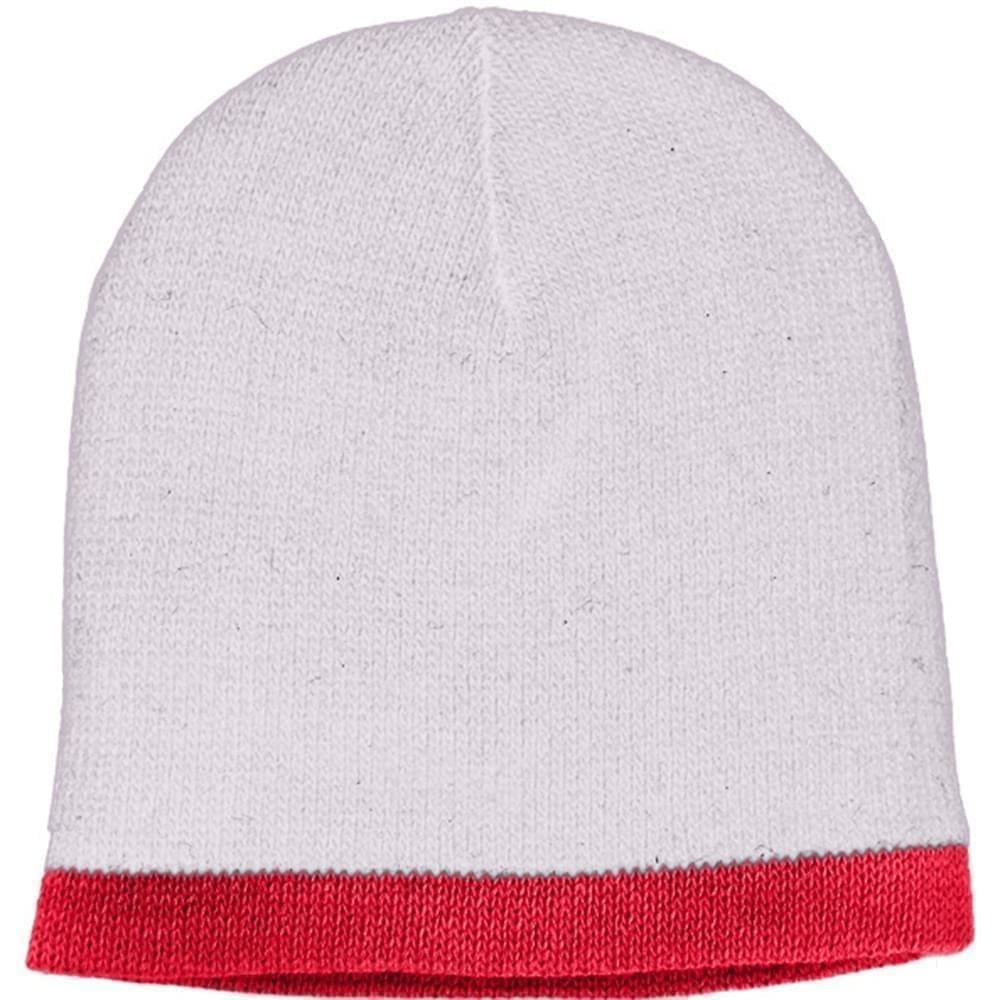 USA Made Knit Stripe Beanie White Red,  99B824-WHT-RED
