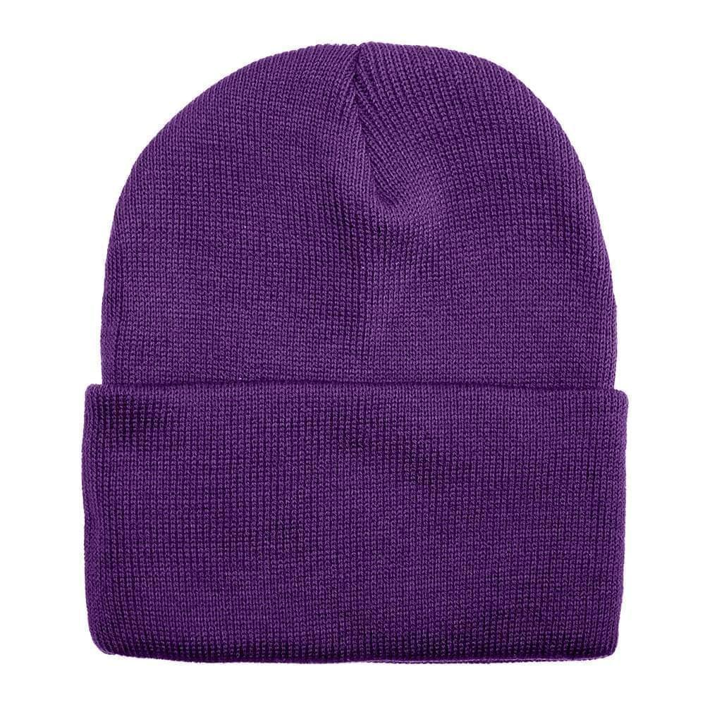 USA Made Solid Knit Ski Hat Purple,  99C176-PRP