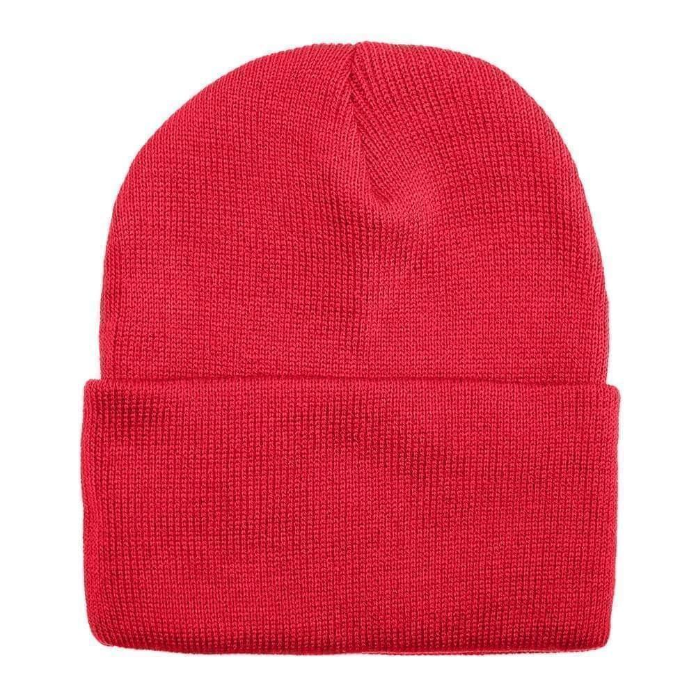 USA Made Solid Knit Ski Hat Red,  99C176-RED