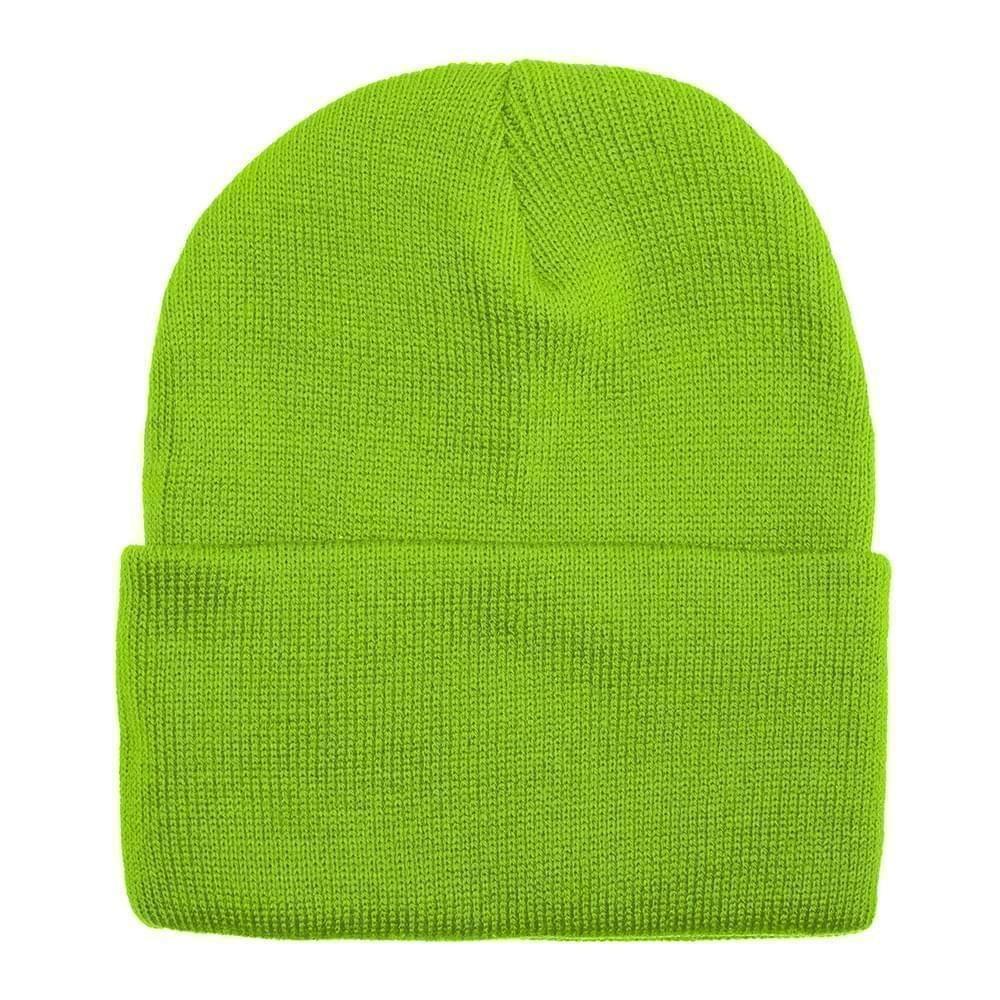 USA Made Solid Knit Ski Hat Safety Green,  99C176-SGR