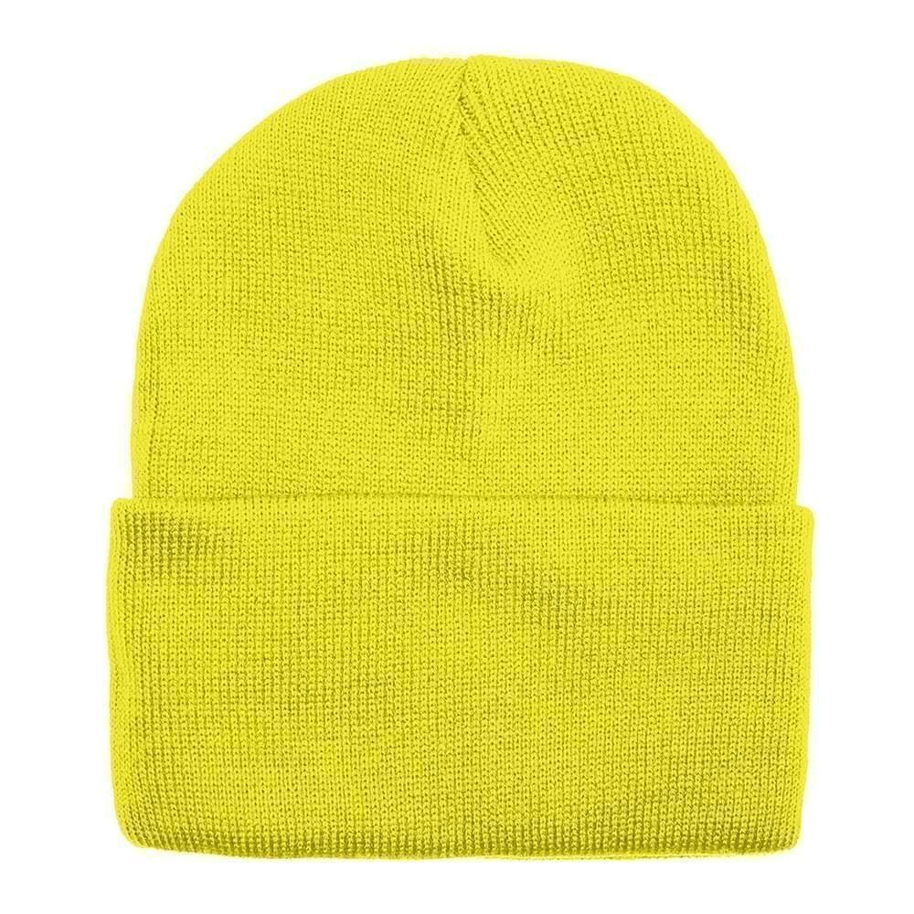 USA Made Solid Knit Ski Hat Safety Yellow,  99C176-SYL