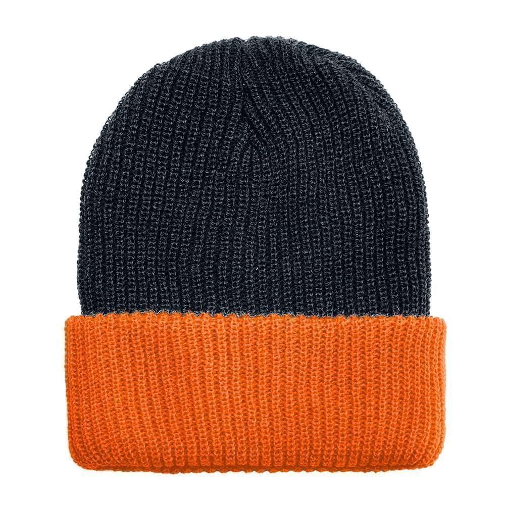 USA Made Knit Cuff Hat Black Orange,  99C244-BLK-BOR