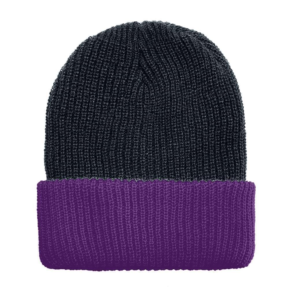 USA Made Knit Cuff Hat Black Purple,  99C244-BLK-PRP
