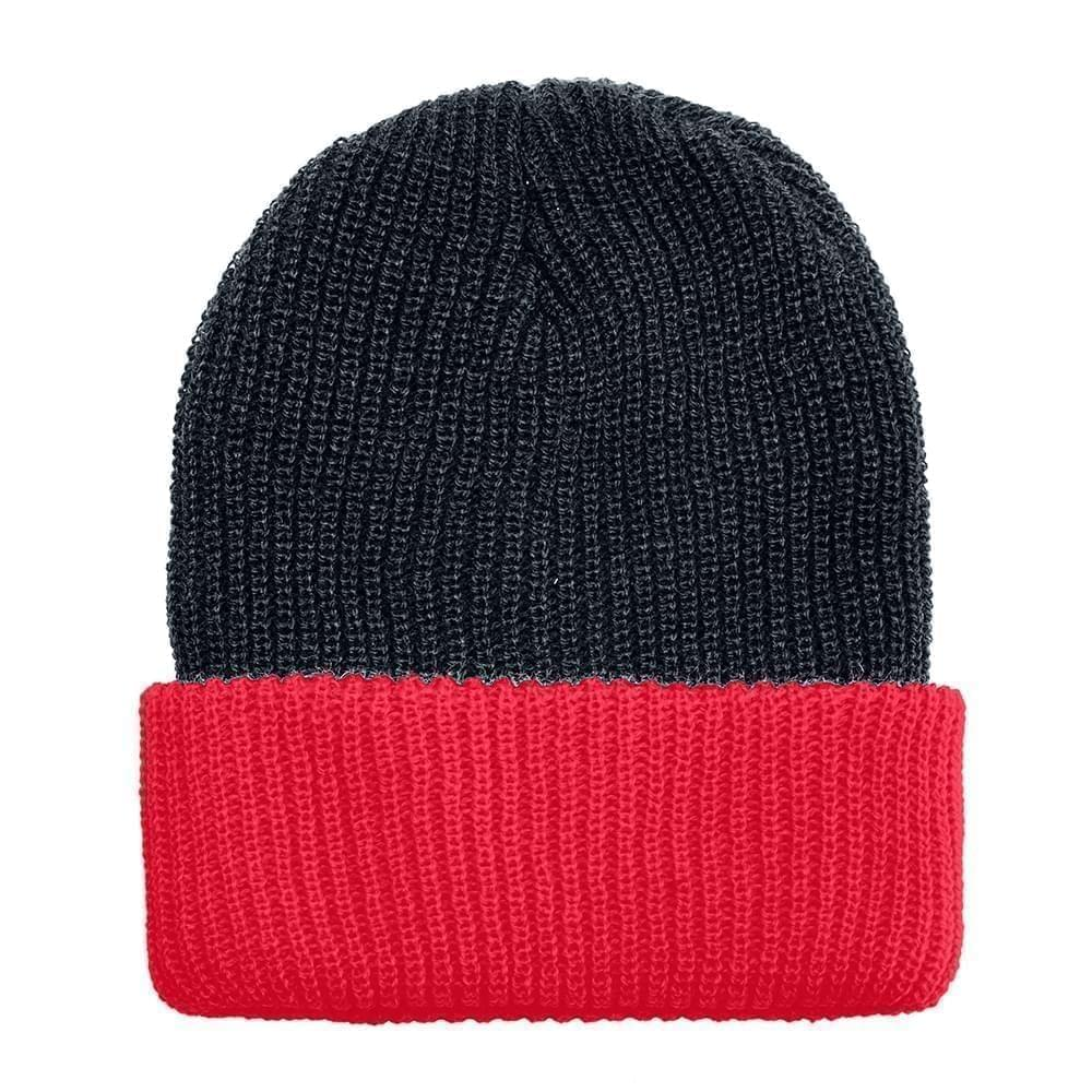 USA Made Knit Cuff Hat Black Red,  99C244-BLK-RED
