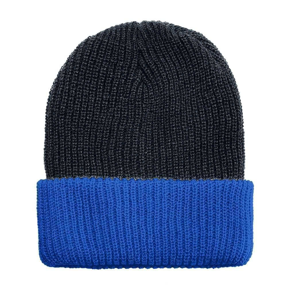 USA Made Knit Cuff Hat Black Royal,  99C244-BLK-ROY
