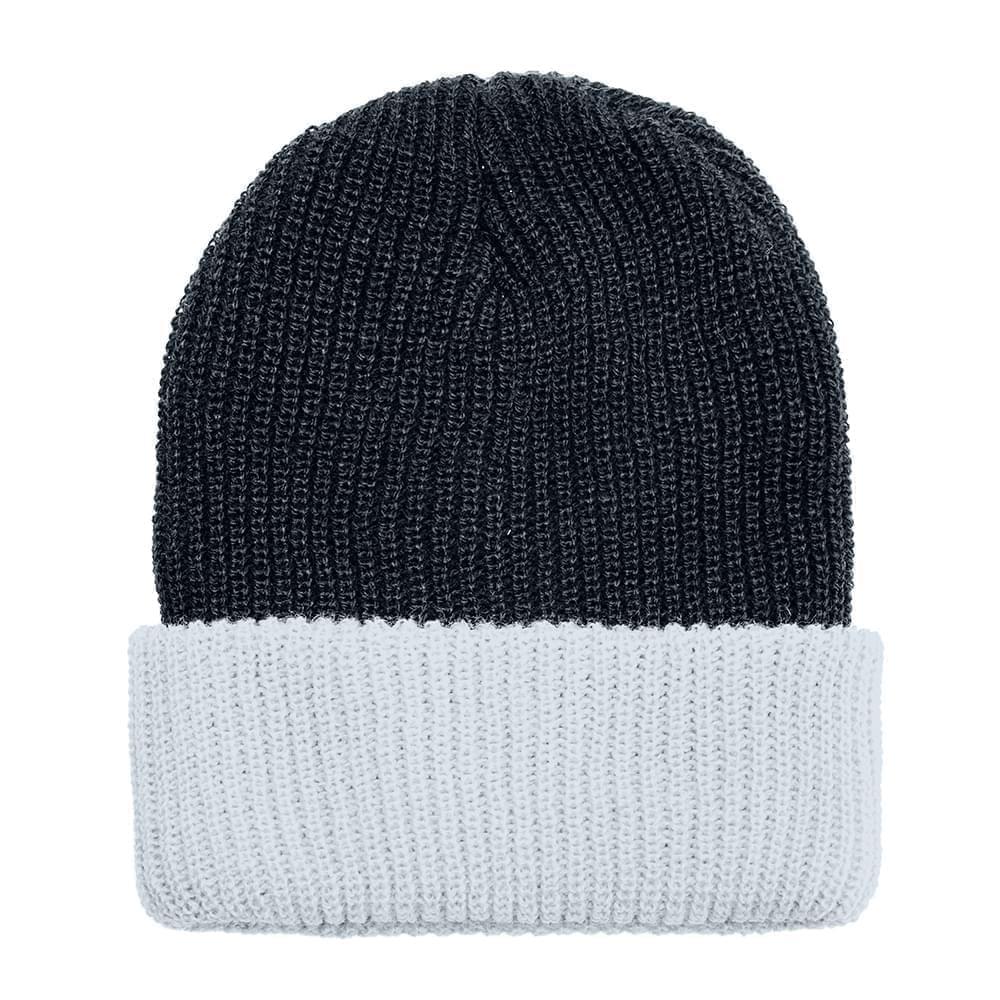 USA Made Knit Cuff Hat Black White,  99C244-BLK-WHT