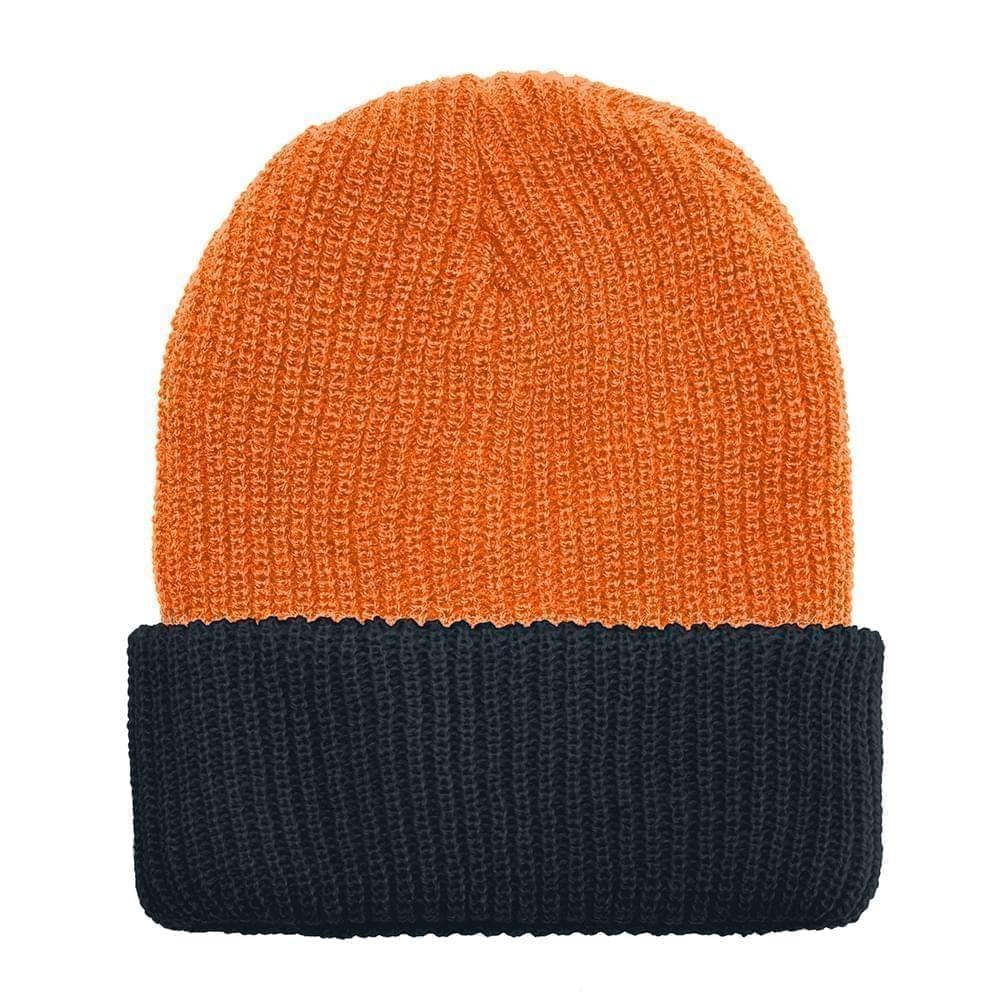 USA Made Knit Cuff Hat Orange Black,  99C244-BOR-BLK