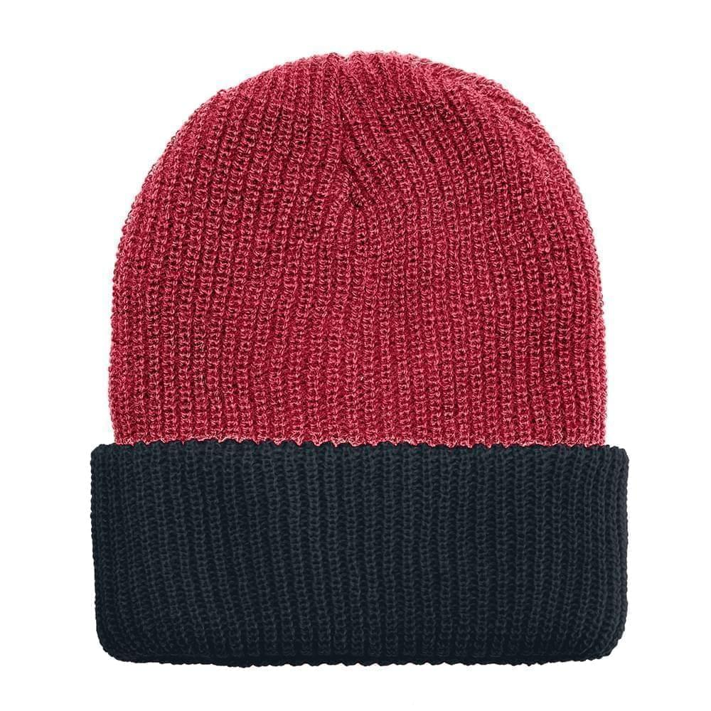 USA Made Knit Cuff Hat Dark Red Black,  99C244-DRD-BLK