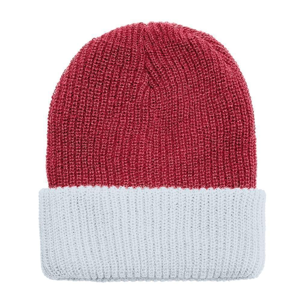 USA Made Knit Cuff Hat Dark Red White,  99C244-DRD-WHT
