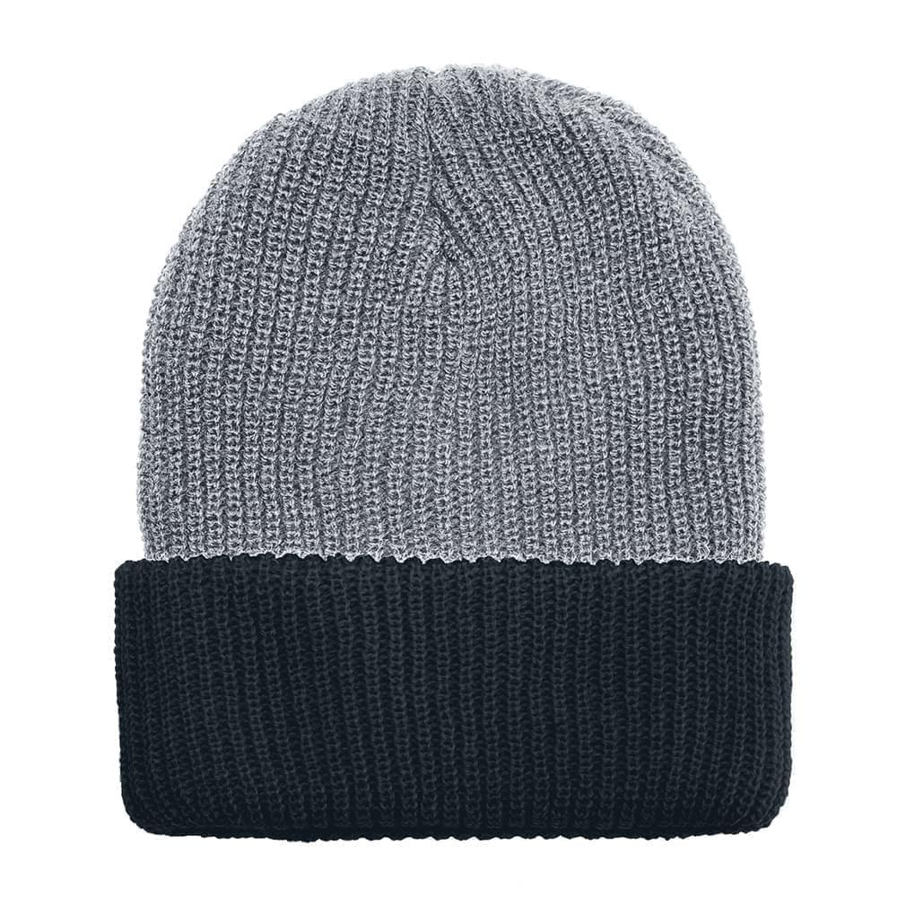 USA Made Knit Cuff Hat Grey Black,  99C244-GRY-BLK