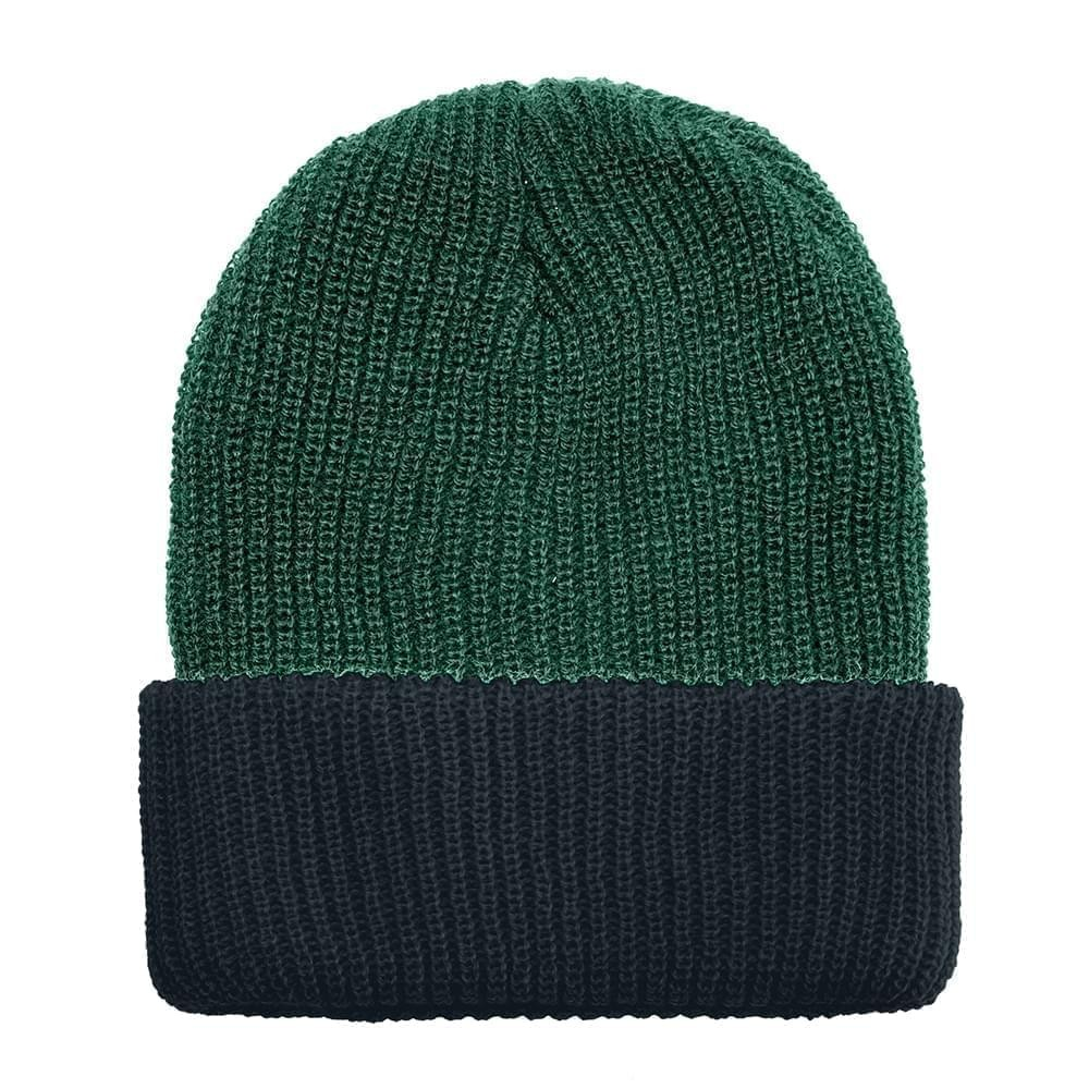 USA Made Knit Cuff Hat Forest Green Black,  99C244-HGR-BLK