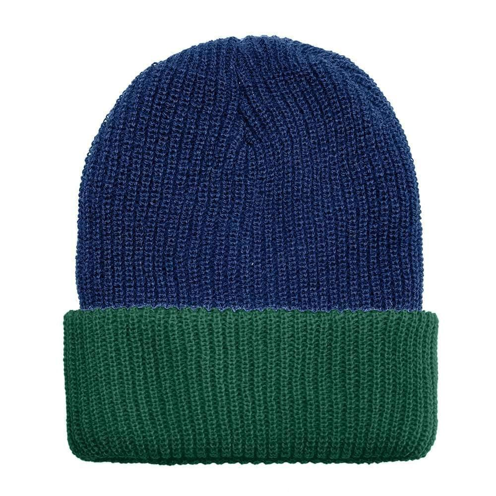 USA Made Knit Cuff Hat Navy Forest Green,  99C244-NVY-HGR
