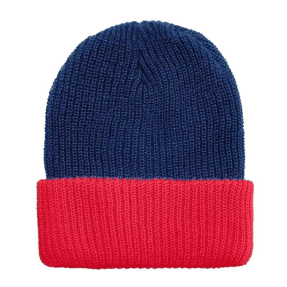 USA Made Knit Cuff Hat Navy Red,  99C244-NVY-RED