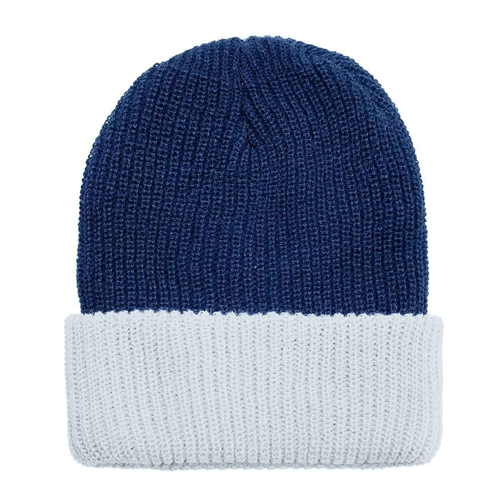 USA Made Knit Cuff Hat Navy White,  99C244-NVY-WHT