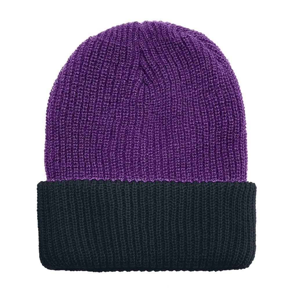 USA Made Knit Cuff Hat Purple Black,  99C244-PRP-BLK