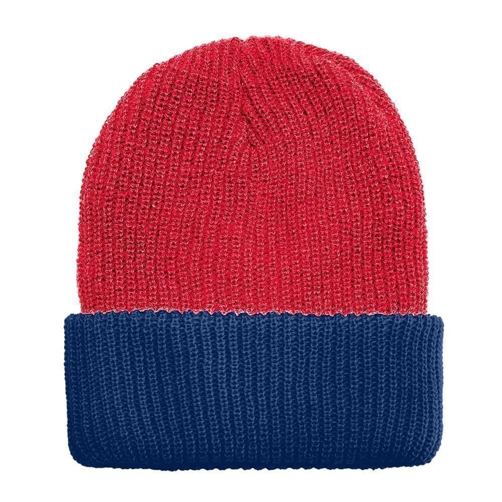 USA Made Knit Cuff Hat Red Navy,  99C244-RED-NVY