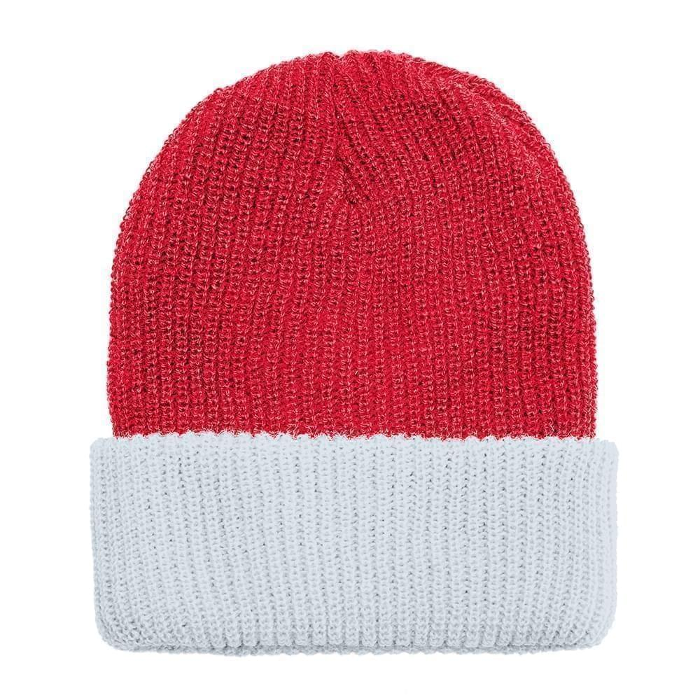 USA Made Knit Cuff Hat Red White,  99C244-RED-WHT