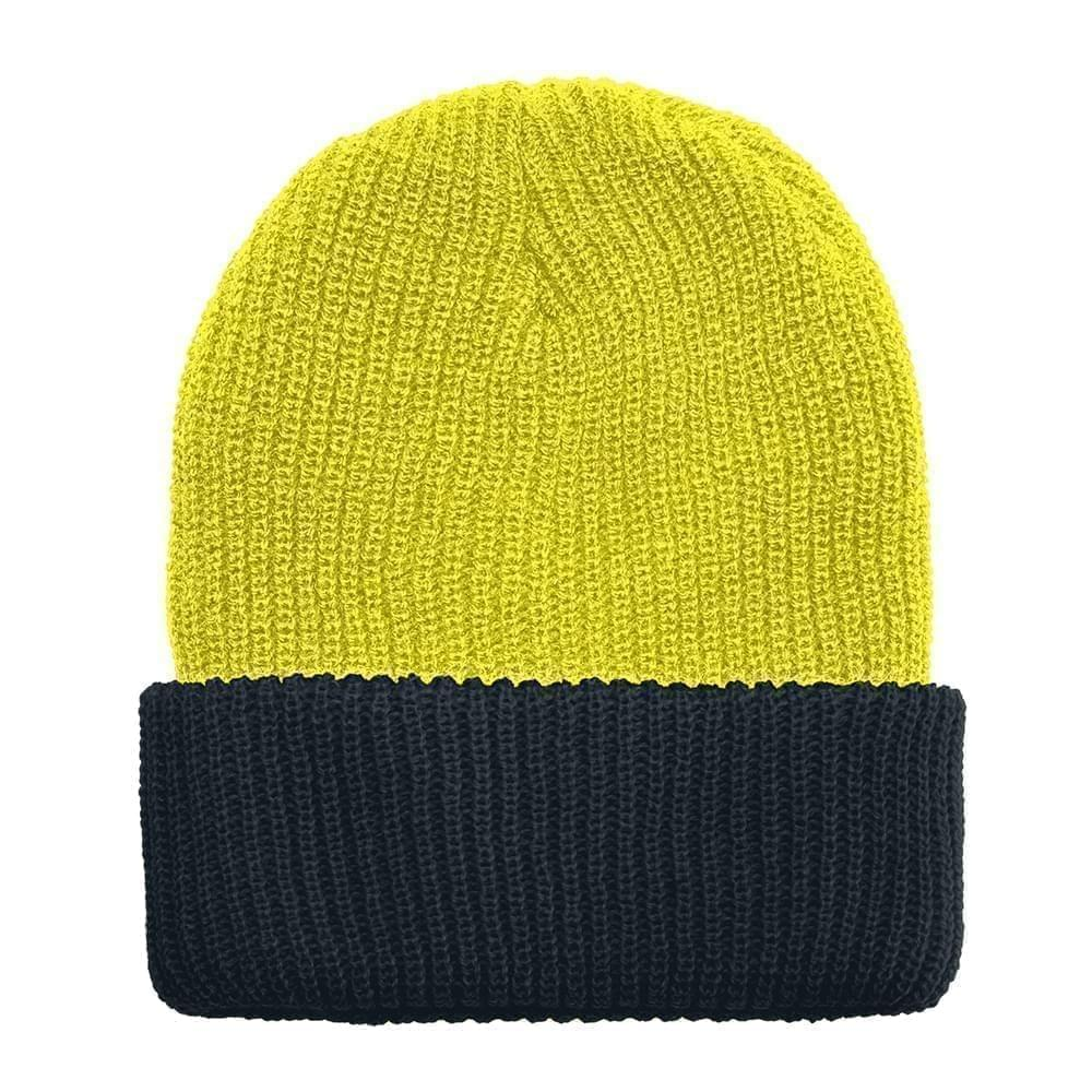 USA Made Knit Cuff Hat Safety Yellow Black,  99C244-SYL-BLK