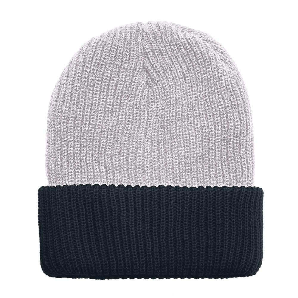 USA Made Knit Cuff Hat White Black,  99C244-WHT-BLK