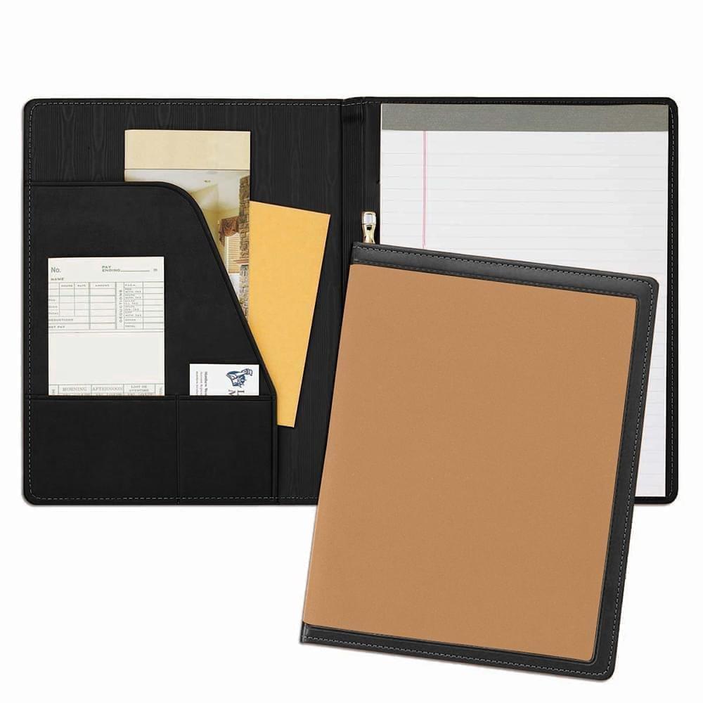 Edge Embroidered Letter Folder-Matte-Black / Tan