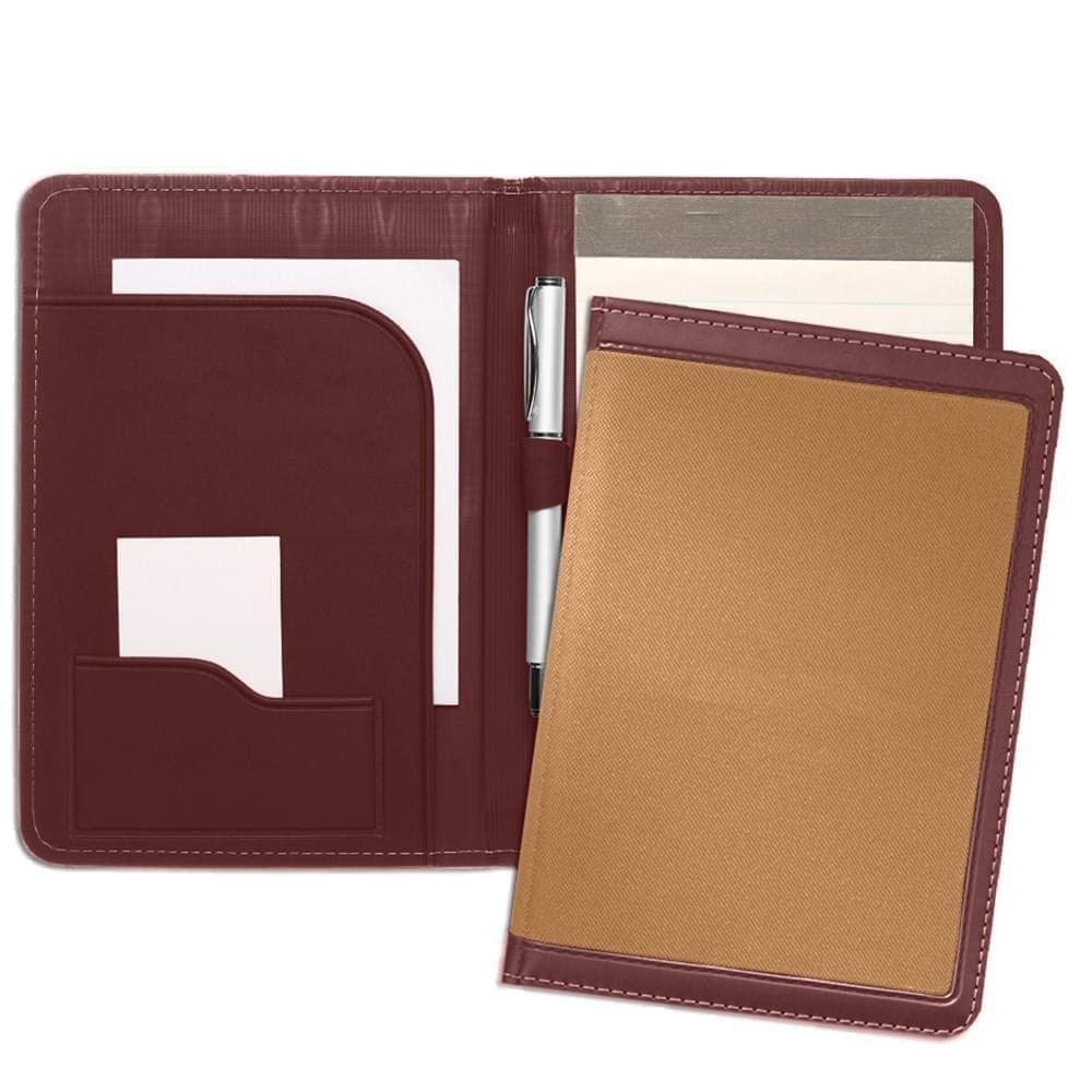 Edge Embroidered Junior Folder-Matte-Burgundy / Tan