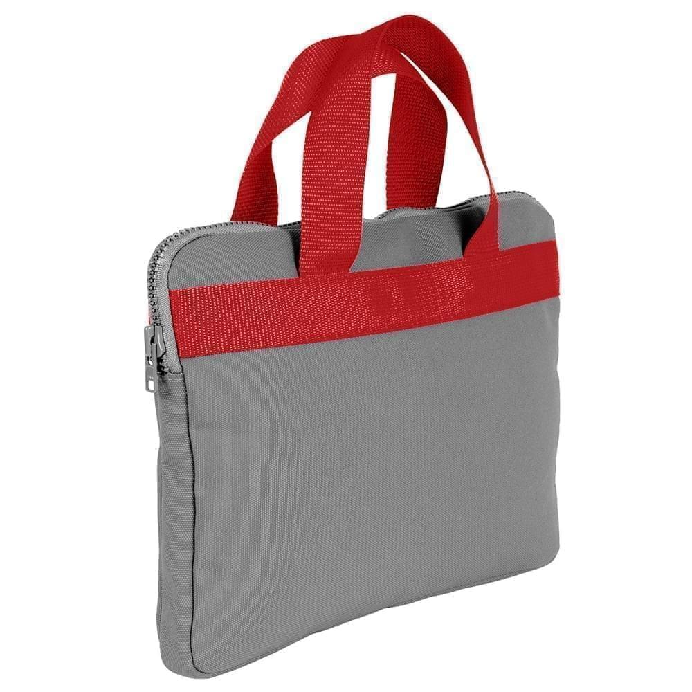 USA Made Nylon Poly Business Cases, Grey-Red, DJAV319P12
