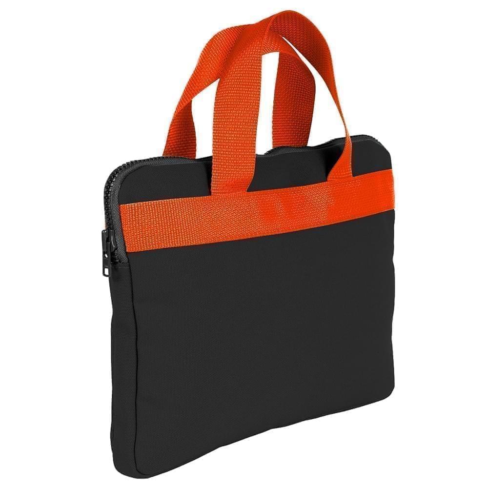 USA Made Nylon Poly Business Cases, Black-Orange, DJAV319PO0