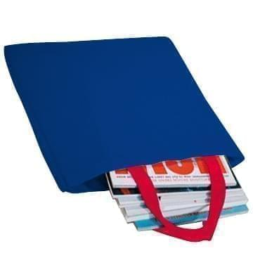 USA Made Poly Market Shopping Tote Bags, Royal Blue-Red, ISAD317A02